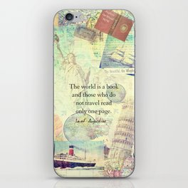 The world is a book TRAVEL QUOTE iPhone Skin