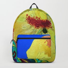 Birthday Acrylic Yellow Orange Hibiscus Flower Painting with Red and Green Leaves Backpack