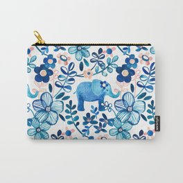 Blush Pink, White and Blue Elephant and Floral Watercolor Pattern Carry-All Pouch