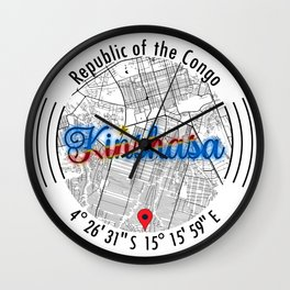 Kinshasa CONGO Road Map Art - Earth Tones Wall Clock