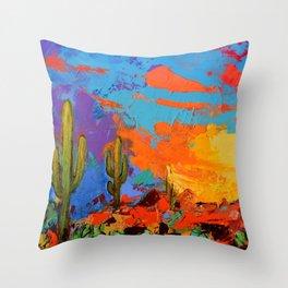 Saguaros Land Sunset Throw Pillow