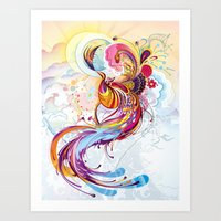 phoenix Art Prints featuring Phoenix by Nick La