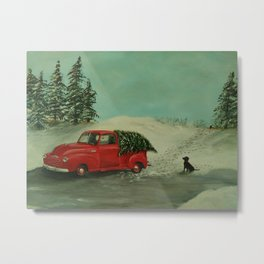 Vintage Truck and Christmas Tree Metal Print