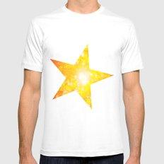 Shimmering Stars Orange MEDIUM White Mens Fitted Tee