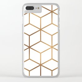 White and Gold - Geometric Cube Design Clear iPhone Case