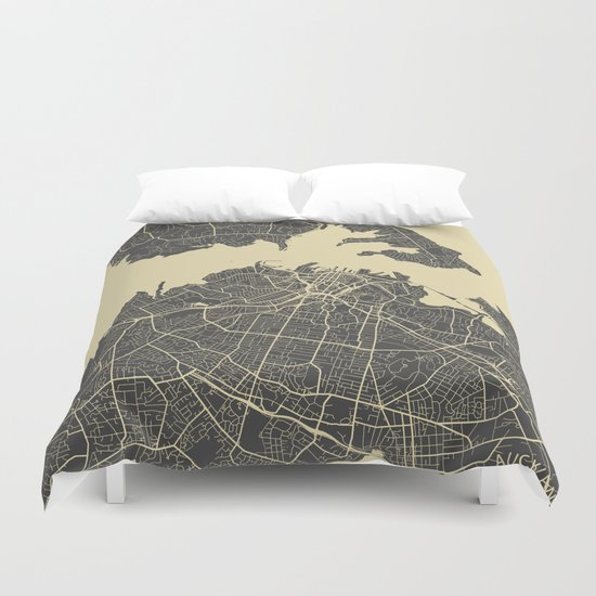 Auckland Map Duvet Cover