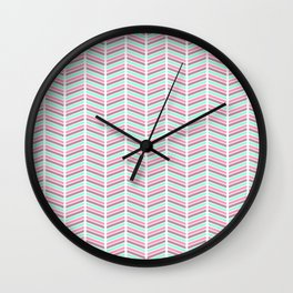 Geometrical neon pink turquoise modern chevron zigzag Wall Clock