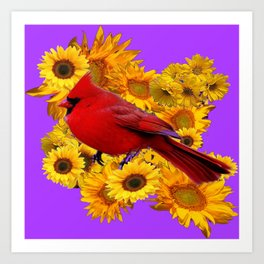 RED CARDINAL & YELLOW SUNFLOWERS PANTENE PURPLE Art Print