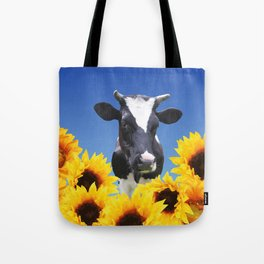Cow black and white with sunflowers Tote Bag
