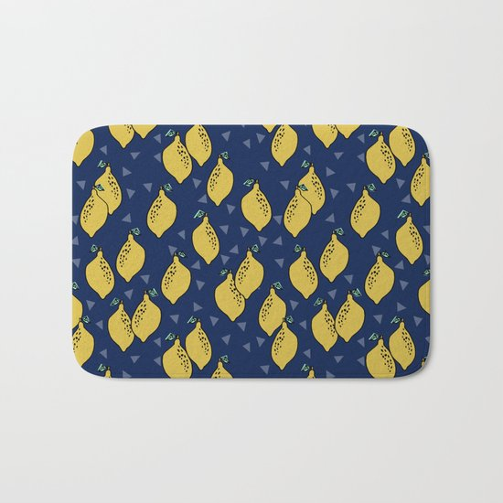 Lemons minimal triangles fruit citrus lemon pattern by andrea lauren Bath Mat