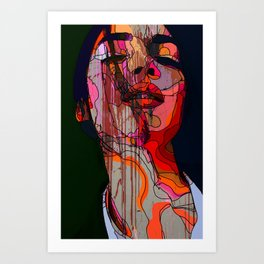 Face of a woman in a grunge style with linedrawing Art Print