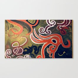 Green and Red Abstract Painting Canvas Print