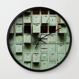 Old green wooden cabinet with drawers Wall Clock