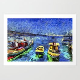 Boats and Sea Impressionist Art Art Print