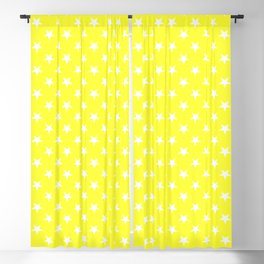 White on Electric Yellow Stars Blackout Curtain