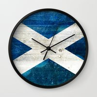 scotland Wall Clocks featuring Scotland by Arken25