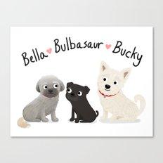 Custom Dog Art- Bella, Bulb, Bucky Canvas Print