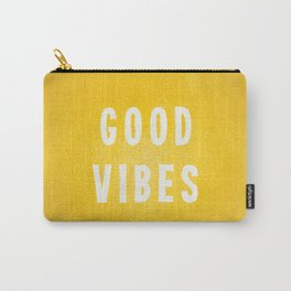 Sunny Yellow and White Distressed Effect Good Vibes Carry-All Pouch