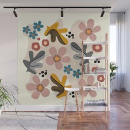 Minimal abstract nature II with leaves and flowers Wall Mural