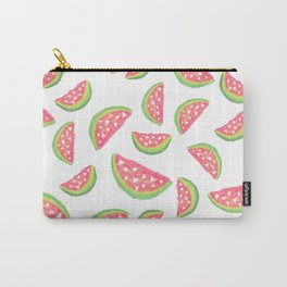 Hand painted modern watercolor hearts watermelon fruits pattern Carry-All Pouch
