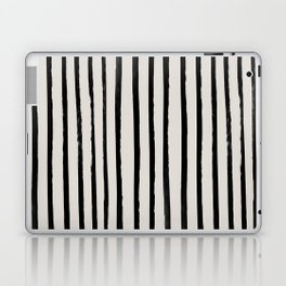 Vertical Black and White Watercolor Stripes Laptop & iPad Skin