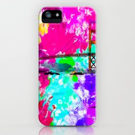 Golden Gate bridge, San Francisco, USA with pink blue green purple painting abstract background iPhone Case