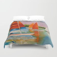 Sailboats on the river Duvet Cover