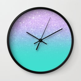Modern mermaid lavender glitter turquoise ombre pattern Wall Clock