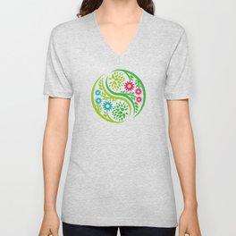 Yin Yang Flower Unisex V-Neck