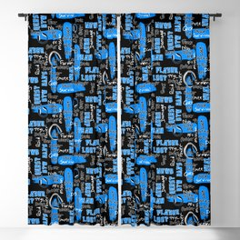 Gamer Lingo-Black and Blue Blackout Curtain