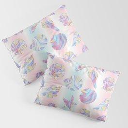 Pastel Rainbow Mermaid Seashells Pillow Sham