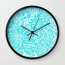 Marigold Lino Cut, Turquoise Wall Clock