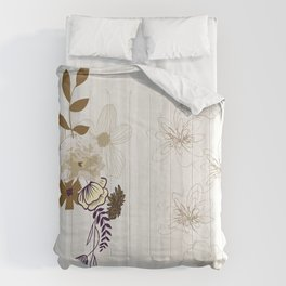 Contemporary Line Art Flowers Comforters