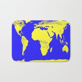 World Map Blue & Yellow Bath Mat