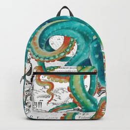 Teal Octopus Tentacles Vintage Map Nautical Backpack