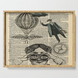 newspaper print dictionary page binoculars hot air balloon victorian steampunk Serving Tray