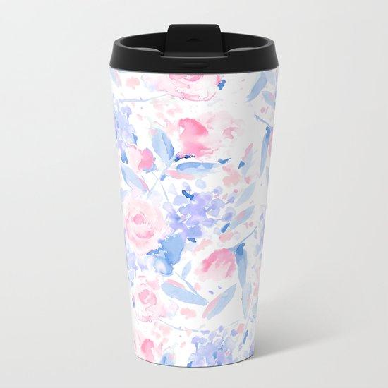 Scattered Lovers Blue on White Metal Travel Mug