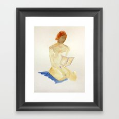 watercolor nude - reading Framed Art Print