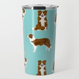 Border Collie red coat dog breed pet friendly gifts for collie lovers Travel Mug