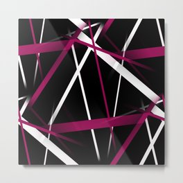Seamless Rose Pink and White Stripes on A Black Background Metal Print