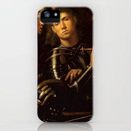 "Giorgione ""The ""Gattamelata"". Man in armour with a squire"" iPhone Case"