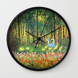 Claude Monet The Artist's Family In The Garden Wall Clock