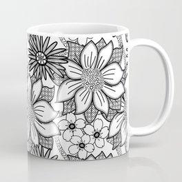 Black and White Floral Drawing Coffee Mug