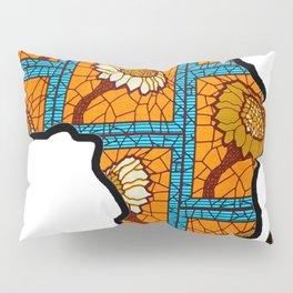 Blue Gold Floral Africa Map Pillow Sham