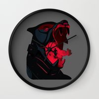 the hound Wall Clocks featuring The Hound by Harry Martin