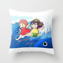 girl in the sea Throw Pillow