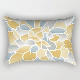 Flower Bloom, Yellow, Aqua and Gray, Floral Prints Rectangular Pillow