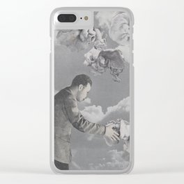 man with elbow patch Clear iPhone Case