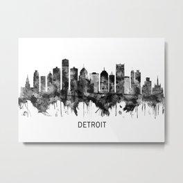 Detroit Michigan Skyline BW Metal Print