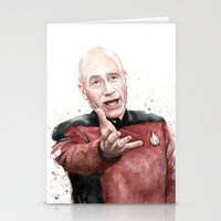 picard Stationery Cards featuring Annoyed Picard Meme  by Olechka